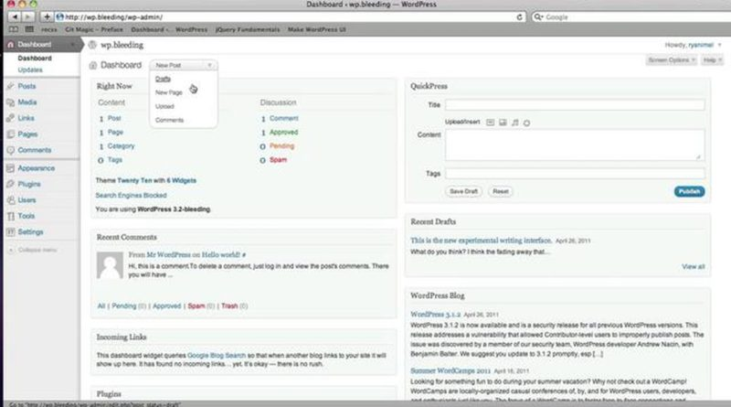 Preview the upcoming WordPress 3.2 Dashboard