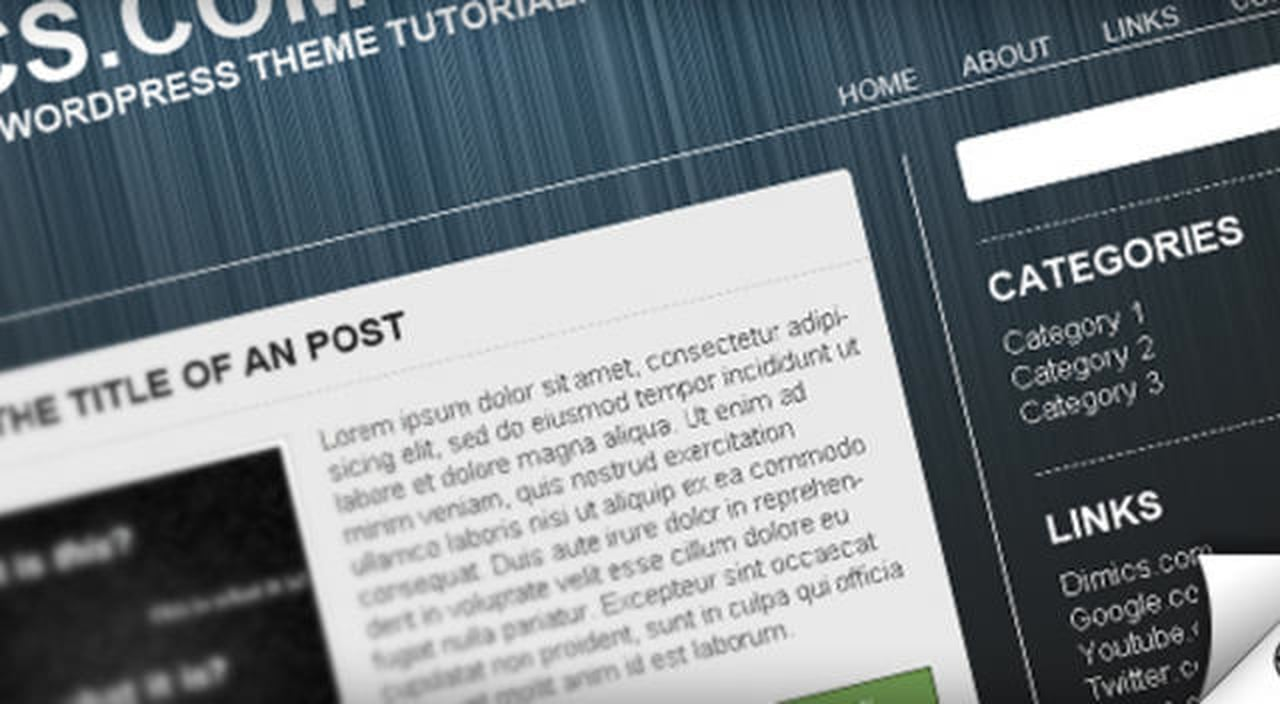 Dimics.com | WordPress theme tutorial Part 1 (PS)