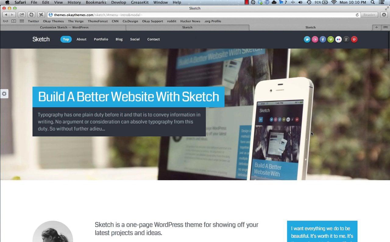 Sketch WordPress Theme Install