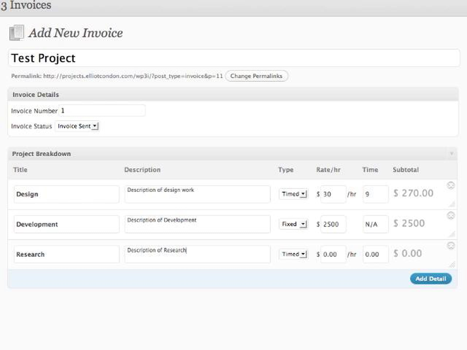 WordPress 3 Invoices – Creating an Invoice