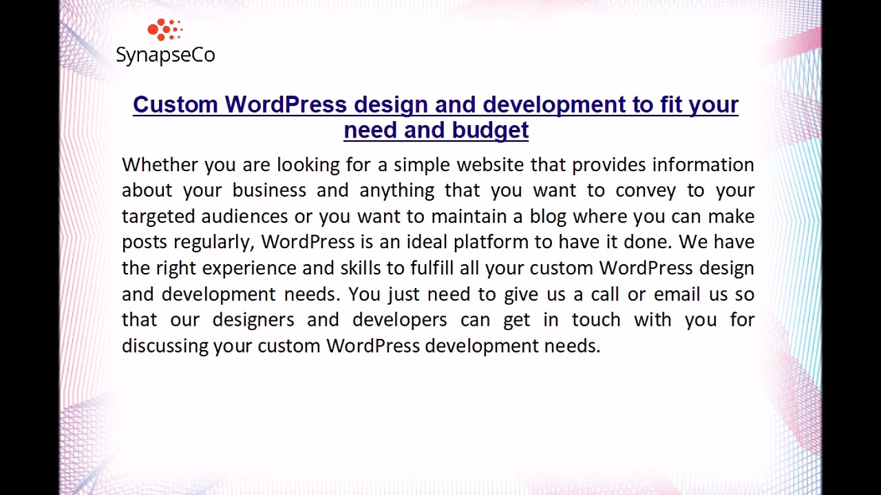 SynapseCo WordPress development company