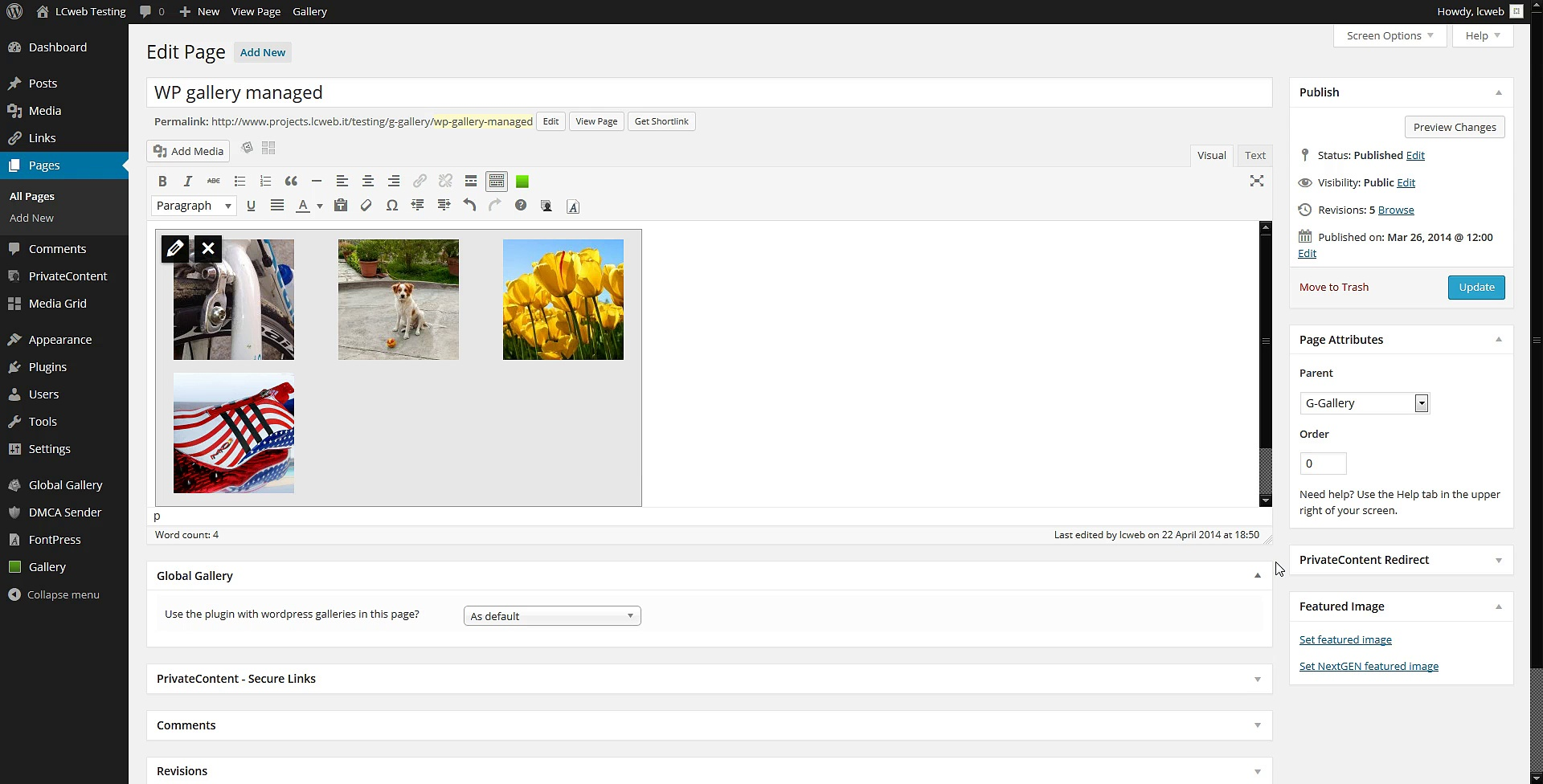 Global Gallery (10) – WordPress galleries integration
