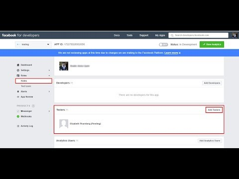 How to create a test user for Facebook developers app review submission?