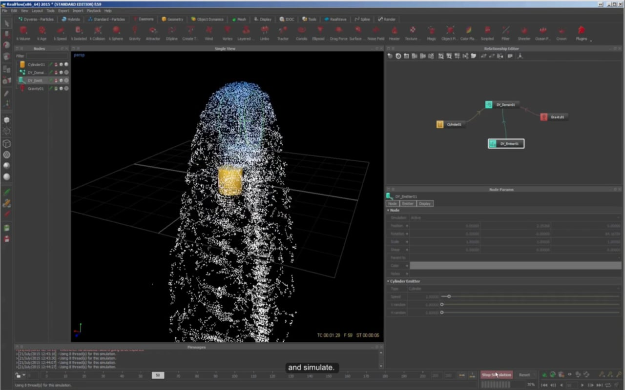 RealFlow 2015 tutorials : First steps with Dyverso.