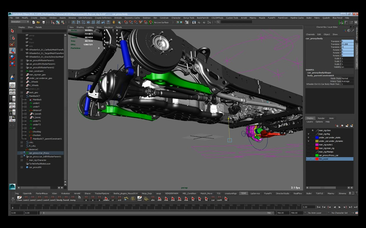 Maya Rigging TD Experience #01 Automotive Car Rigging
