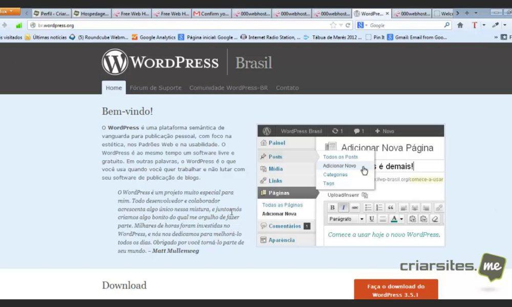 Aprenda criar uma conta de hospedagem grátis e fazer a instalação do WordPress.