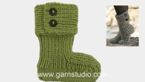 How to knit the slippers in DROPS 134-42