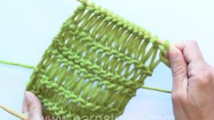 How to knit dropped stitches aka elongated sts in different lengths