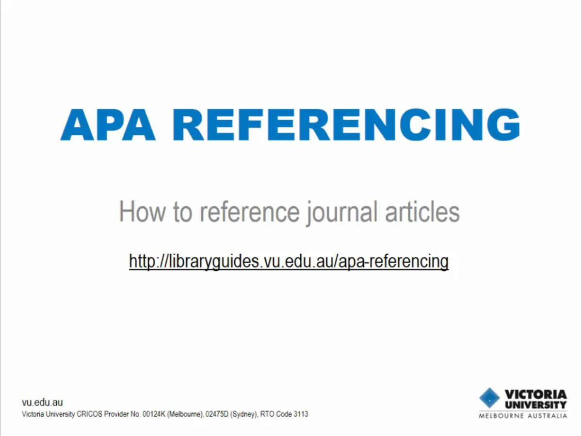 APA Referencing: journal articles