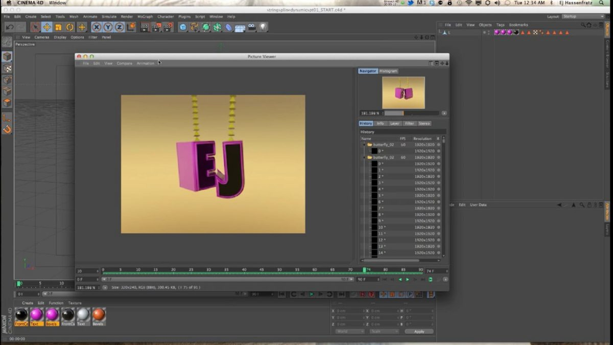 Springs & Spline Dynamics in Cinema 4D Tutorial Part 01: Hanging Objects On a String