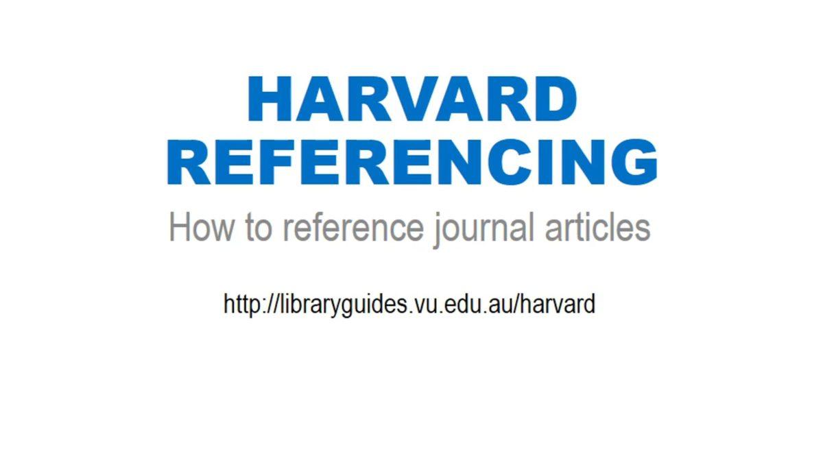 Harvard Referencing: journal articles