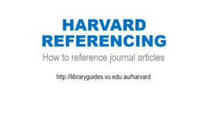 Harvard Referencing: journal articles