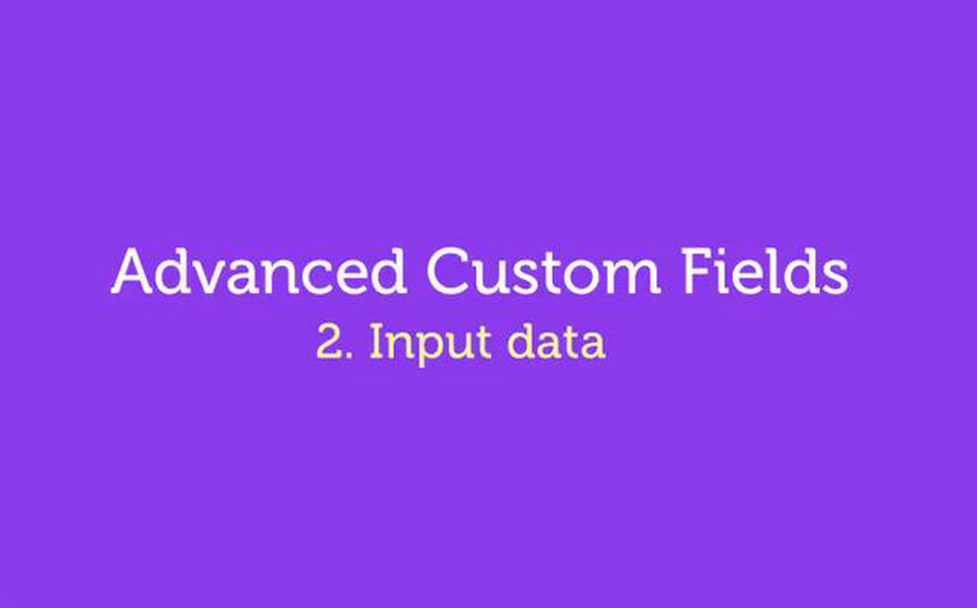 Advanced Custom Fields – WordPress Plugin – 2. Input Data