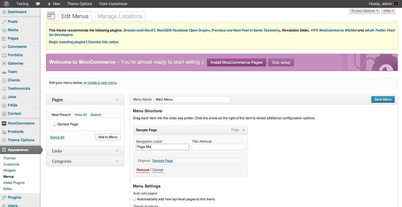 Dante – WordPress Theme Install