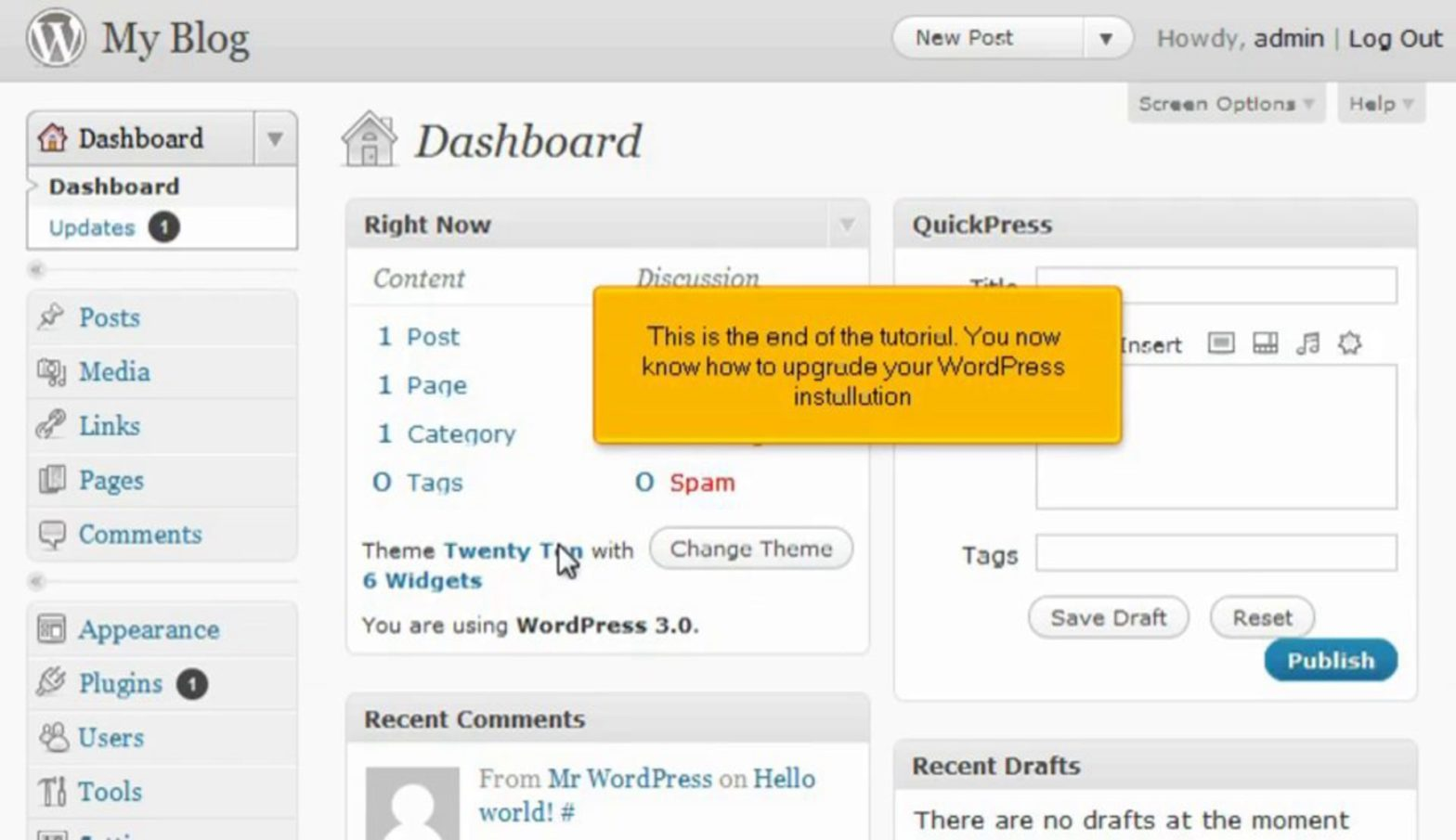 How to update your WordPress installation