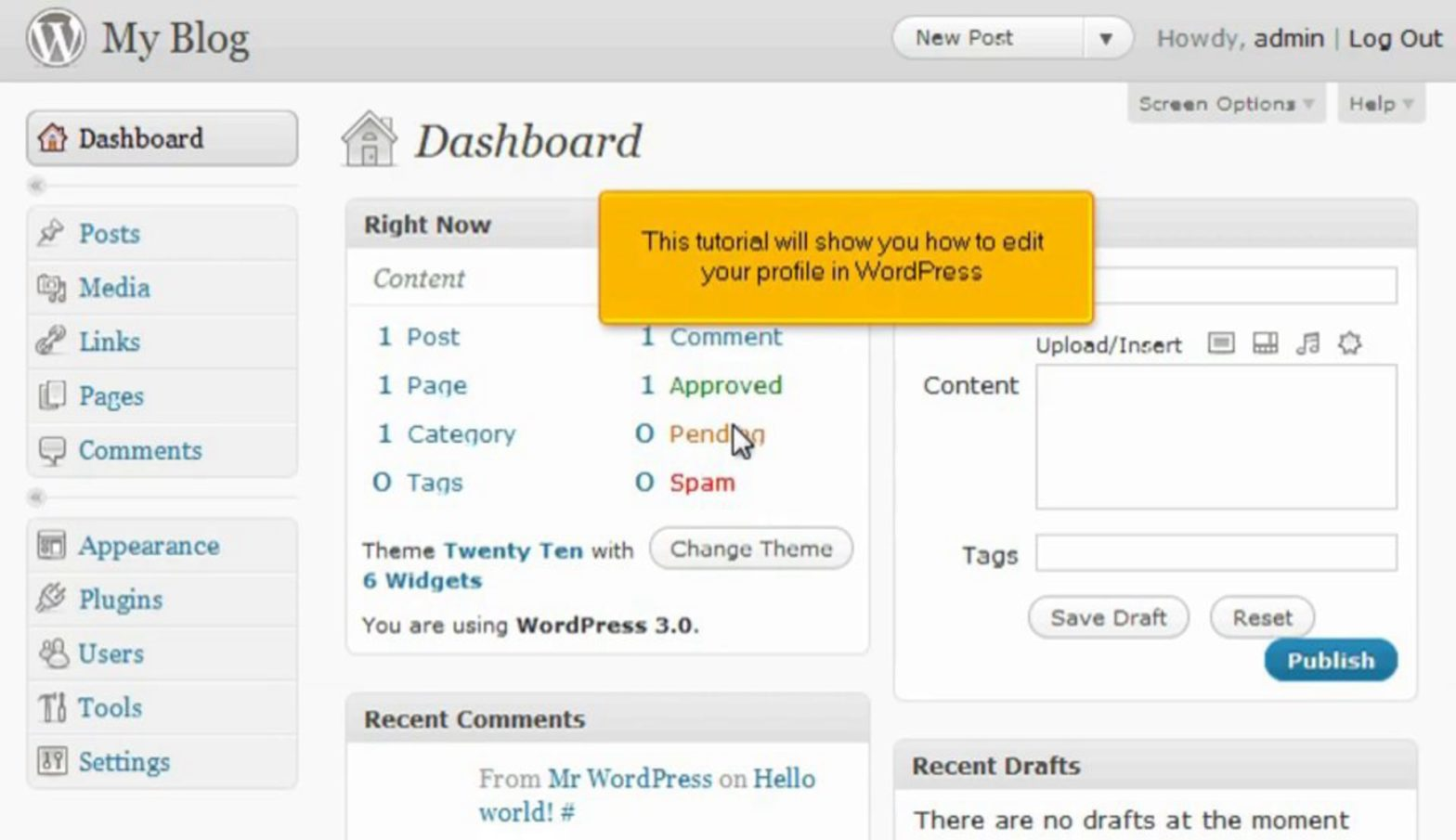 How to edit your profile in WordPress