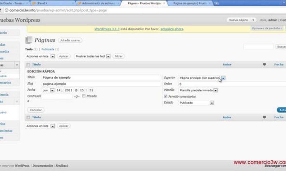 Administración de Paginas con WordPress