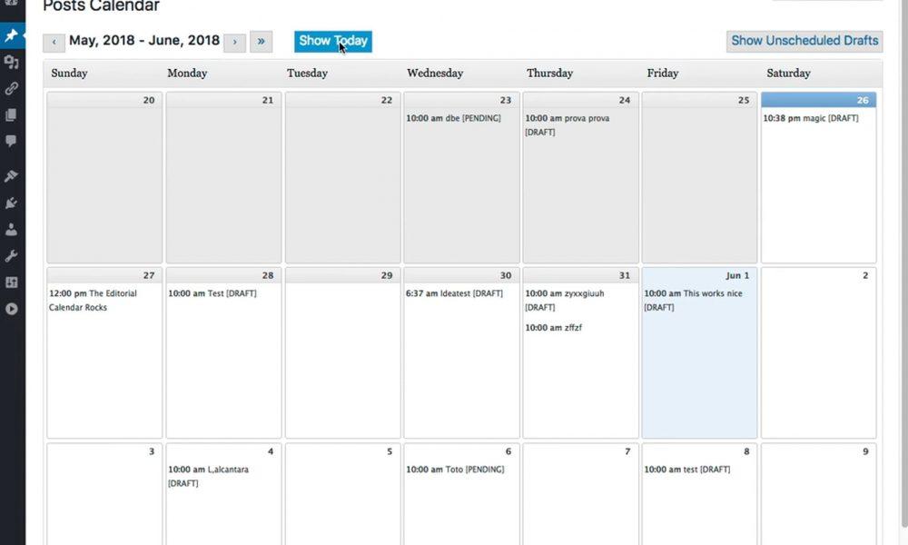 WordPress Editorial Calendar