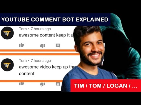 "Explanation of the Logan/Tim/Tom Comment Bot from YouTube: ""wanna be friends?"" ""loved it"""