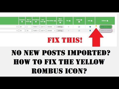 How to fix the 'Yellow Diamond' icon when running importing in plugins (Newsomatic, Echo and others)