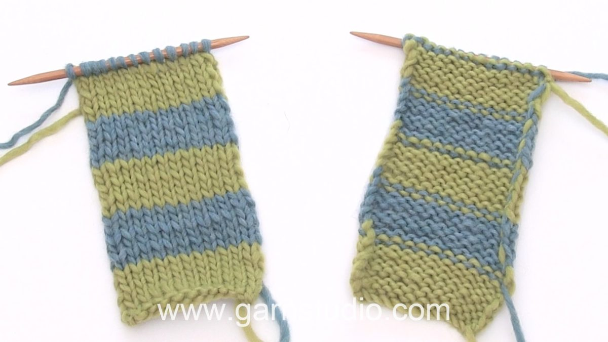 How to knit stripes back and forth