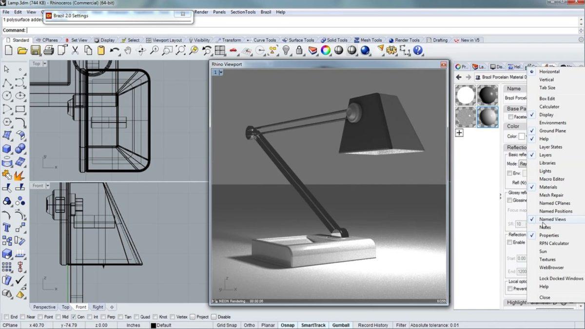 Design an adjustable lamp in v5 Rhino